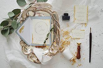 Papiernictvo - Svadobné oznámenie Rastlinný venček so zlatom - 11703392_