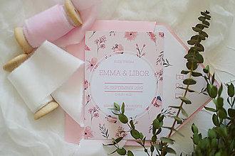 Papiernictvo - Svadobné oznámenie Ružové kvetinky - 11703419_