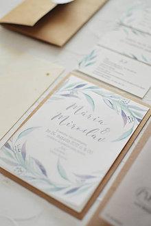 Papiernictvo - svadobné oznámenie Olivové listy - 11703465_
