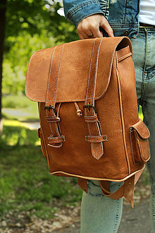 Batohy - Angola - kožený ruksak - 11701116_