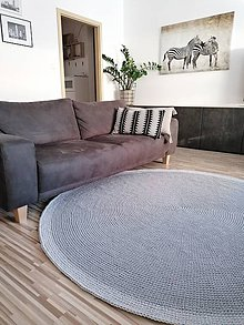 Úžitkový textil - Veľký háčkovaný koberec - odtiene šedej - 11702182_