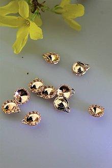 Komponenty - strieborné lôžko na kabošony - pozlátené (vzhľad ružové zlato) - 11704640_