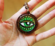 Náhrdelníky - Oko zelené - prívesok - 11706081_