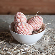 Dekorácie - Háčkované vajíčka - lososová - 11703767_