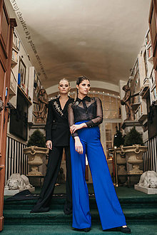 Nohavice - Rovné nohavice parížska modrá - 11705436_
