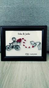 3D obrázok z papierových prúžkov, pre novomanželov, zamilovaných... (voliteľný text)