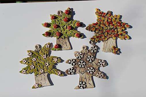 Umenie_srdca: Keramické stromčeky 4 ročné obdobia, set 4 ks