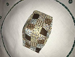 Rúška - Rúško - hnedý patchwork - štvorvrstvové - 11706370_