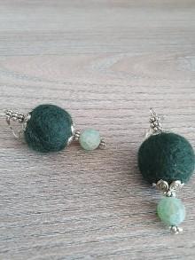 Náušnice - Machovo zelene plstené - 11709475_