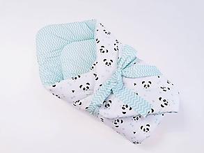 Textil - Zavinovačka mentolovo-sivá s pandami - 11711410_
