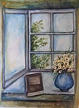 Obrazy - Čas na knihu...akvarel (bez rámu) - 11707660_