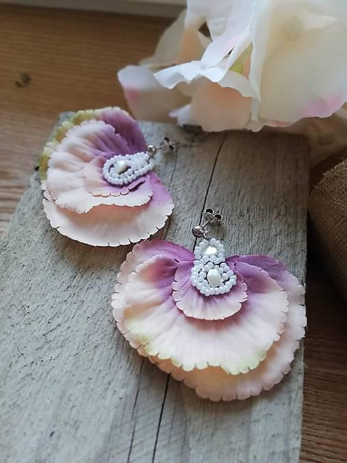 Náušničky hortenzia striebro