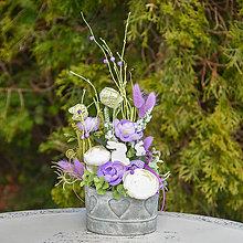 Dekorácie - Jarná dekorácia so zajačikmi - 11709453_
