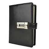 Papiernictvo - Kožený zápisník na heslový zámok v čiernej farbe - 11708375_
