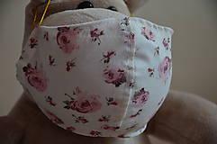 Rúška - Detské rúško na tvár (Ružová ruža) - 11708884_