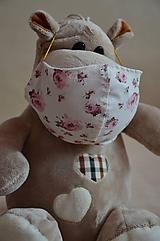 Rúška - Detské rúško na tvár (Ružová ruža) - 11708885_