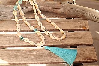 Náhrdelníky - Mušľový náhrdelník so strapcom - 11710602_