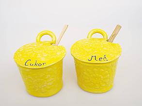 Nádoby - Súprava cukor + med Sedmikráska: žltá - 11715803_