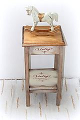 Nábytok - Stolík Vintage - 60 cm, buk+smrek - 11712810_