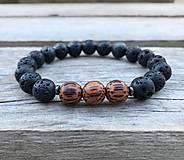 Šperky - Náramok - láva, drevené korálky - 11711587_