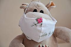Rúška - Detské rúško na tvár (Biela, ľanová výšivka) - 11712105_