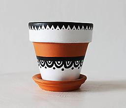 Nádoby - Terakotový kvetináč - Black & white - 11714353_
