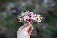 """Ozdoby do vlasov - Kvetinový hrebienok """"prísľuby lásky"""" - 11714130_"""