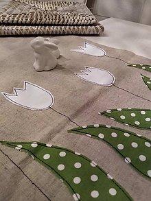 """Úžitkový textil - Ľanový obrus """"Biele tulipány"""" - 11714819_"""