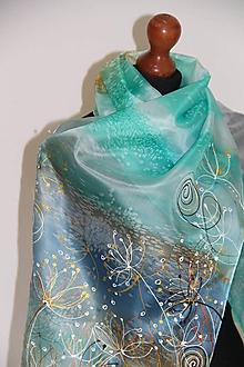 Šály - Maľovaný tyrkysový + darčeková obálka v cene... - 11714025_