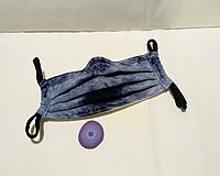 Rúška - Rúško pre dospelých dvojvrstvové s drôtikom - modrosivá batika - 11711530_