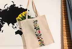 Nákupné tašky - Taška na plece / Kvetinová taška / Nákupná taška / Vyšívaná taška / Taška na potraviny - 11713150_