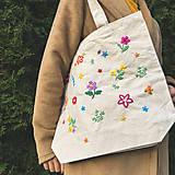 Nákupné tašky - Taška na plece / Kvetinová taška / Nákupná taška / Vyšívaná taška / Taška na potraviny - 11713373_