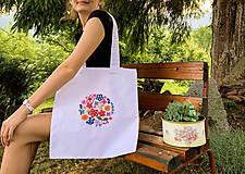 Nákupné tašky - Taška na plece / Kvetinová taška / Nákupná taška / Vyšívaná taška / Taška na potraviny - 11713416_