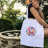 Nákupné tašky - Taška na plece / Kvetinová taška / Nákupná taška / Vyšívaná taška / Taška na potraviny - 11713420_