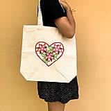 Nákupné tašky - Taška na plece / Kvetinová taška / Nákupná taška / Vyšívaná taška / Taška na potraviny - 11713437_