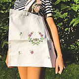 Nákupné tašky - Taška na plece / Kvetinová taška / Nákupná taška / Vyšívaná taška / Taška na potraviny - 11713617_
