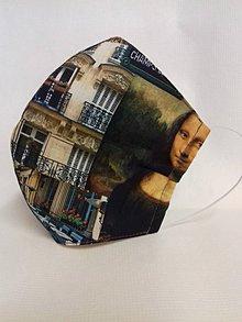 Rúška - Dizajnové bavlnené rúška podšívané jemnučkým ľanom, tvarované, rôzne vzory (Mona Lisa) - 11716509_