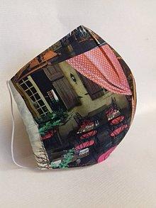 Rúška - Dizajnové bavlnené rúška podšívané jemnučkým ľanom, tvarované, rôzne vzory (Street- Kaviareň) - 11716540_