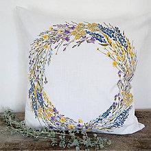 Úžitkový textil - Ľanový vankúš letný veniec - 11718014_