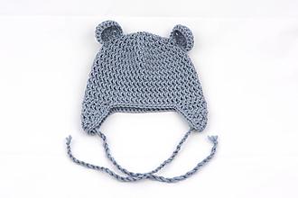 Detské čiapky - Modrá ušianka macko EXTRA FINE - 11717895_