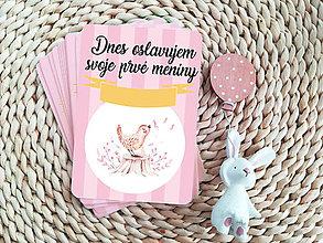 Detské doplnky - Míľnikové kartičky (Ružové, Nordic texty) - 11719126_