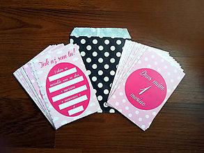 Detské doplnky - Míľnikové kartičky (Ružové, texturované pozadie 1-12 m) - 11719237_
