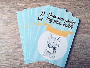 Detské doplnky - Míľnikové kartičky (Modré, Nordic texty) - 11719279_