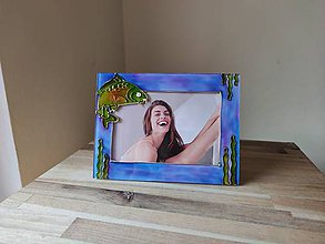 Rámiky - Sklenený maľovaný fotorámik - kapor - 11719095_