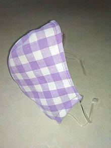 Rúška - Trojvrstvové ľanové rúško fialové Kocky - 11717556_