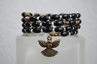 Náramky - Náramok ruženec čierny - 11718479_