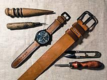 Opasky - City Go! Miňas kožený opasok a remienok na hodinky - 11716505_