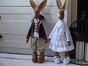Bábiky - Párik zajov v bielom - 11722005_