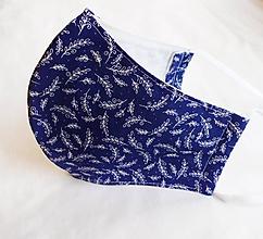 Rúška - Rúško tvarované - Tmavomodré s lístkami (2 vrstvy) - 11722522_