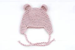 Detské čiapky - Bledoružová ušianka macko EXTRA FINE - 11722385_